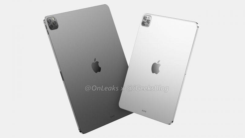 11 ja 12,9 tuuman iPad Pro mallinnoskuvassa. Huomio kiinnittyy iPhone 11 Pro -mallien tapaiseen kamera-alueeseen. Kuva: OnLeaks / iGeeksBlog.