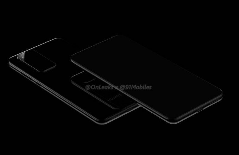 Huawei P40:n aiempi mallinnos. Kuva: OnLeaks / 91mobiles.
