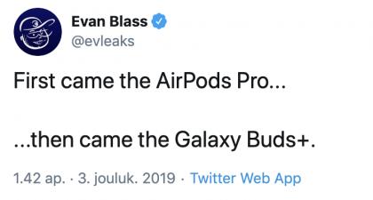Evan Blassin mukaan Samsungilta on tulossa Galaxy Buds+ -kuulokkeet.