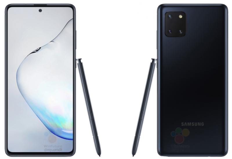 Musta Samsung Galaxy Note10 Lite ja S Pen -kynä.
