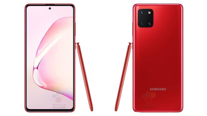 Punainen Samsung Galaxy Note10 Lite ja S Pen -kynä.