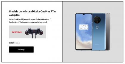 OnePlus 7T:n ja 7T Pron ostajat saavat kaupan päälle Bullets Wireless 2 -kuulokkeet.