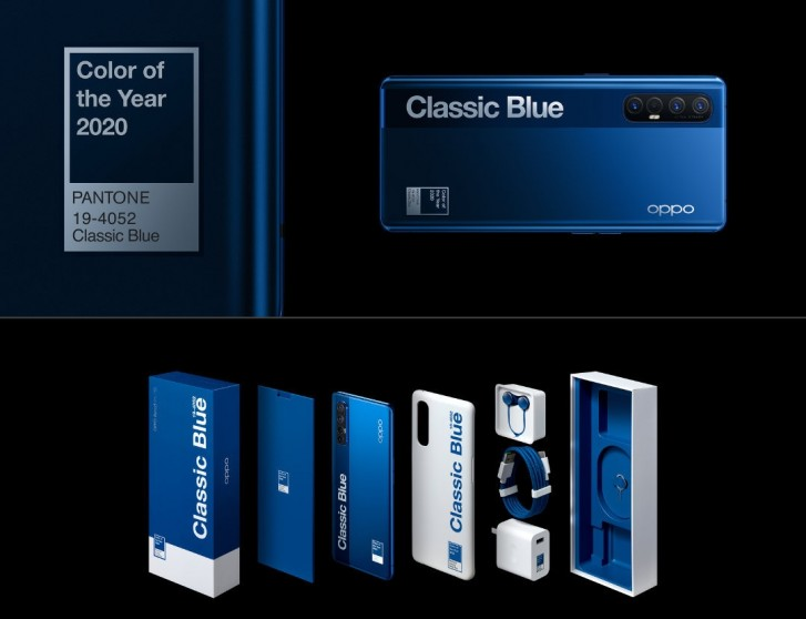 Oppo Reno3 Pro 5G:n Classic Blue Pantone 2020 -erikoisvärivaihtoehto.