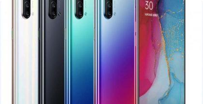 Oppo Reno3 5G:n eri värivaihtoehdot.