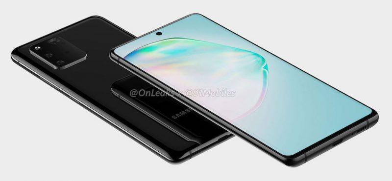 Todennäköinen Samsung Galaxy A91. Kuva: OnLeaks / 91mobiles. Pohjassa vain USB-C-liitäntä. 3,5 millimetrin kuulokeliitäntää ei ole.