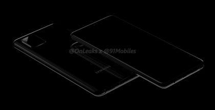 Samsung-älypuhelin mahdolliselta mallinimeltään Galaxy Note10 Lite. Kuva: OnLeaks / 91mobiles.