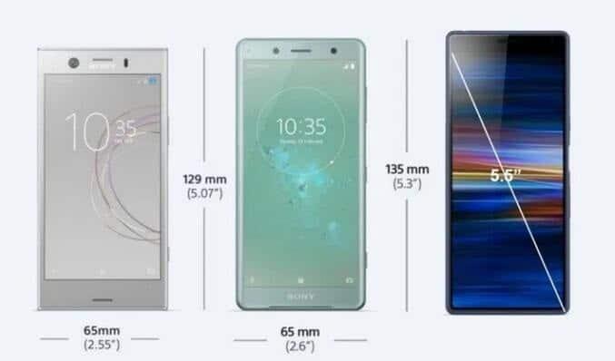 Hahmotelma huhutusta tulevasta Sony Xperia Compact -älypuhelimesta 5,5 tuuman näytöllä vertailussa aiempiin.