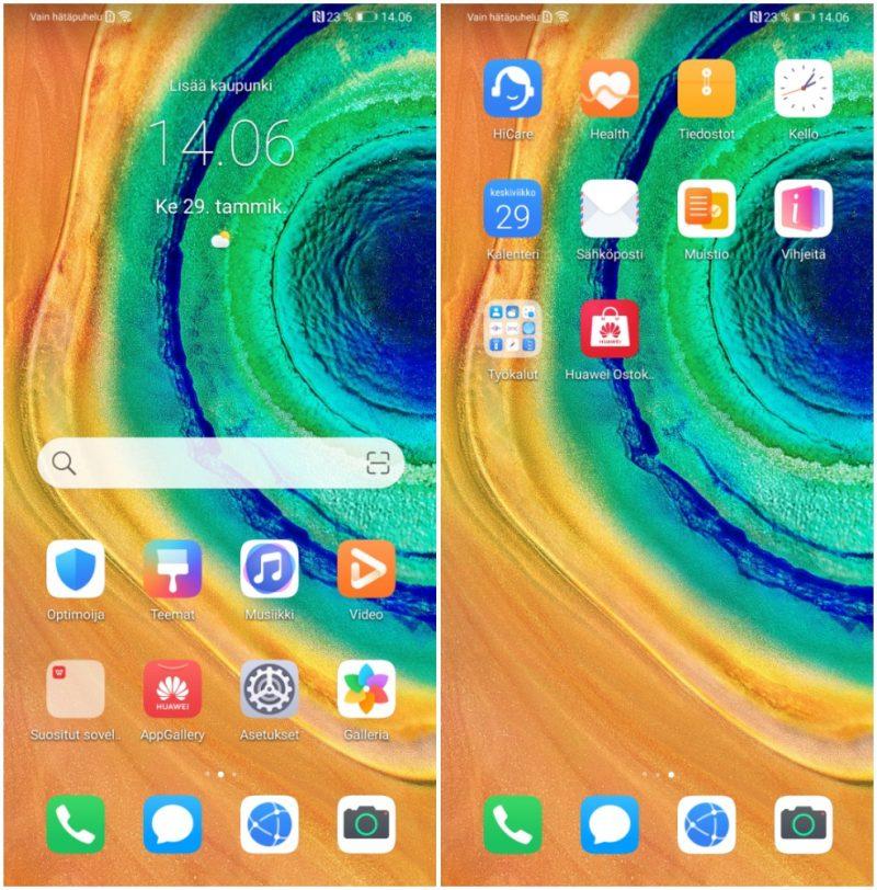 Ei näy Google-sovelluksia. Tältä näyttää Huawei Mate 30 Pron valikko heti käyttöönoton jälkeen.