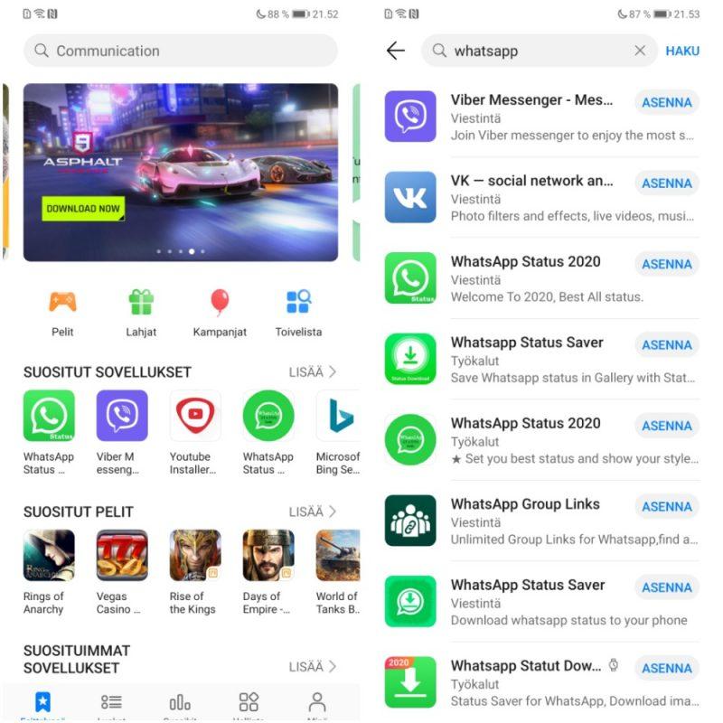Huawein AppGallery-sovelluskaupan kotinäkymä. WhatsAppin hakeminen paljasti kaupan sovellusmäärästä löytyvän jo paljon täysiä turhuuksia.