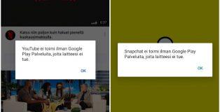 YouTube ei toimi (kuten ei muutkaan Google-sovellukset). Snapchat ei toimi, koska siinä hyödynnetään Google Play -palveluja.