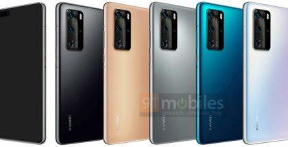 Huawei P40 Pro eri väreissä. Kuva: 91mobiles.