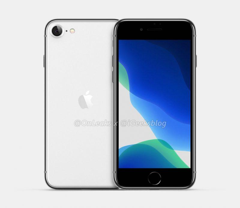 Mahdollisesti iPhone 9 -mallinimen saava uutuus OnLeaksin yhdessä iGeeksBlogin kanssa julkaisemassa mallinnoskuvassa.