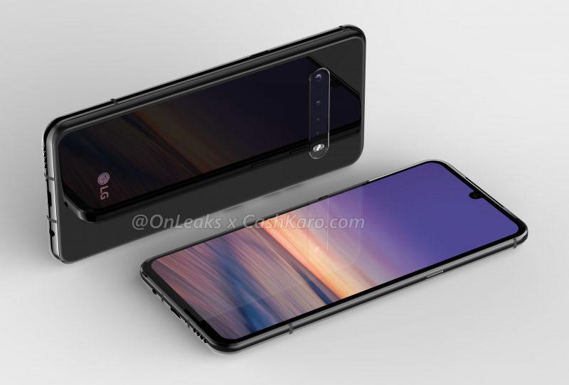 LG:n uusi huippupuhelin, todennäköisesti G9 ThinQ, on varustettu edelleen myös 3,5 millimetrin kuulokeliitännällä. Kuva: OnLeaks / CashKaro.