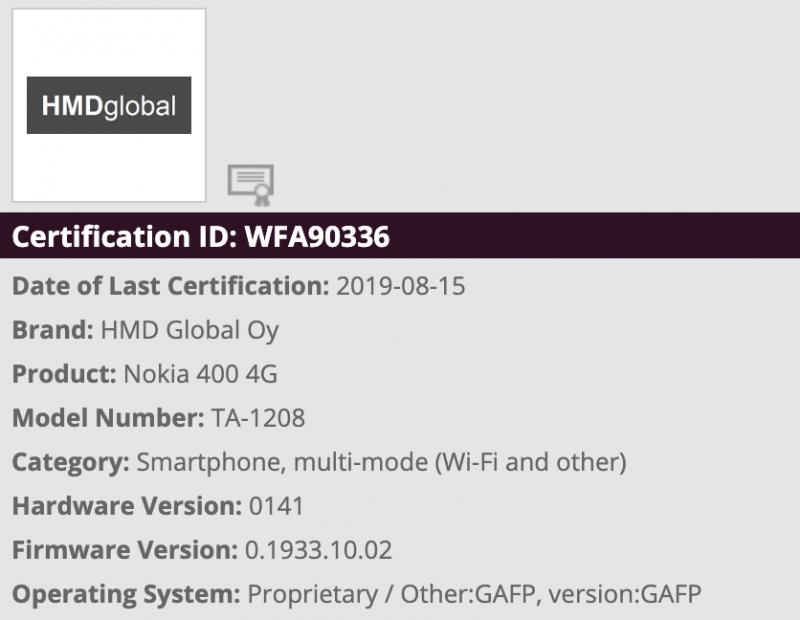 TA-1208 on Nokia 400 4G.