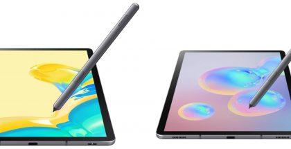 Syystä tai toisesta Galaxy Tab S6:n vasemmalla nähtävässä 5G-versiossa kaiutinaukot on jaettu kahteen osaan verrattuna perusmalliin.