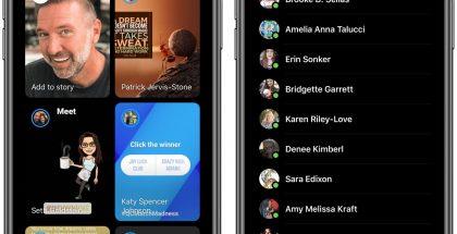 Facebook Messengerin uudistuva Ihmiset-välilehti.