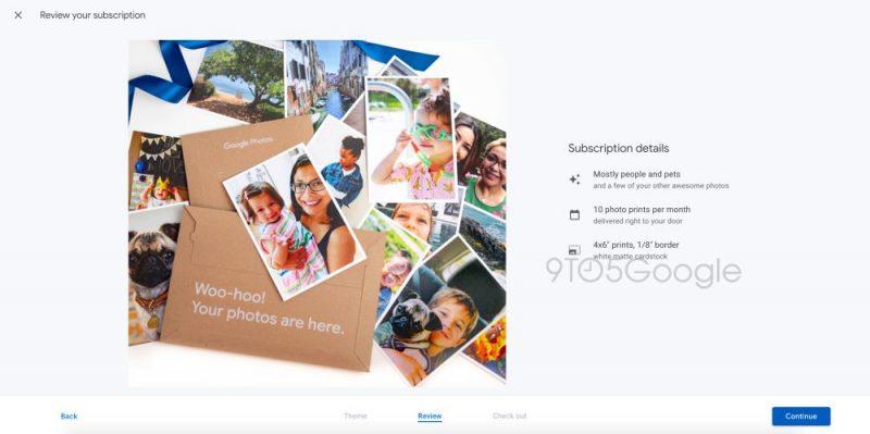 Google testaa Kuvat-palvelussaan uutta kuukausittaista printtikuvatilausta. Kuva: 9to5Google.