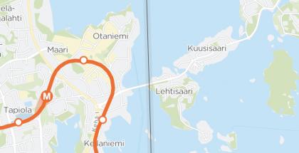 Tässä kuvassa kartalla näkyvät kaksi M-täplää kertovat liikkuvista metrojunista.
