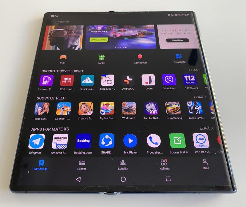 Huawei Mate Xs:ssä ei ole Google Play -sovelluskauppaa, vaan tyytyminen on Huawein AppGalleryyn.