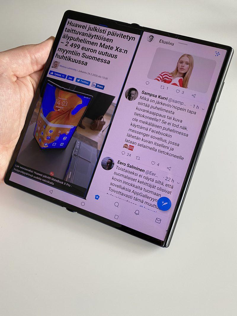 Mate Xs:n näytölle mahtuu mainiosti kaksi sovellusta rinnakkain, esimerkiksi verkkoselailuun ja Twitterin seuraamiseen samanaikaisesti.