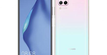 Huawei P40 litessä on neljä takakameraa ja etukamera reikänä näytön vasemmassa yläkulmassa.
