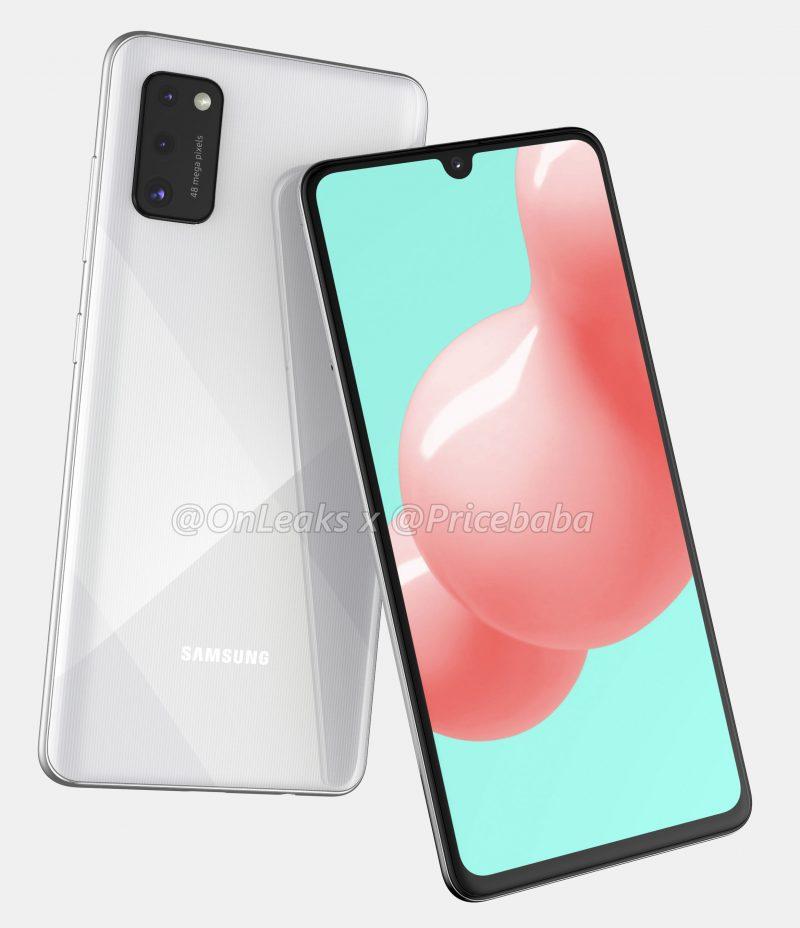 Samsung Galaxy A41 OnLeaksin yhdessä Pricebaban kanssa julkaisemassa mallinnoksessa.