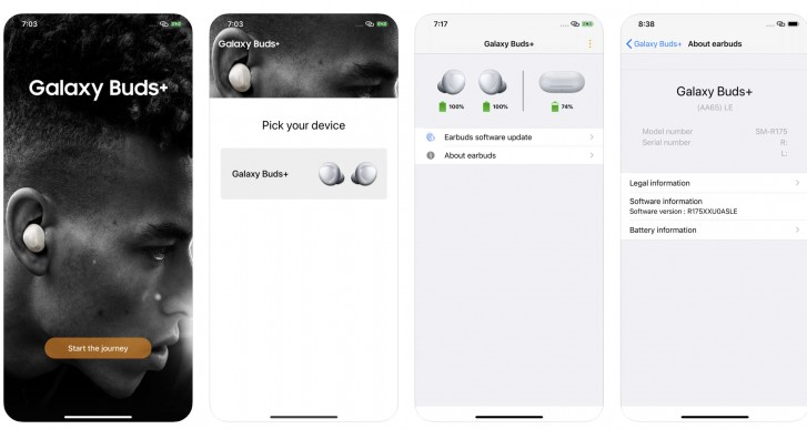 Näyttökuvia Samsungin jo vahingossa julkaisemasta Samsung Galaxy Buds+ -sovelluksesta Applen iPhonelle.