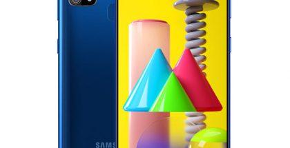 Samsung Galaxy M31 sinisenä.