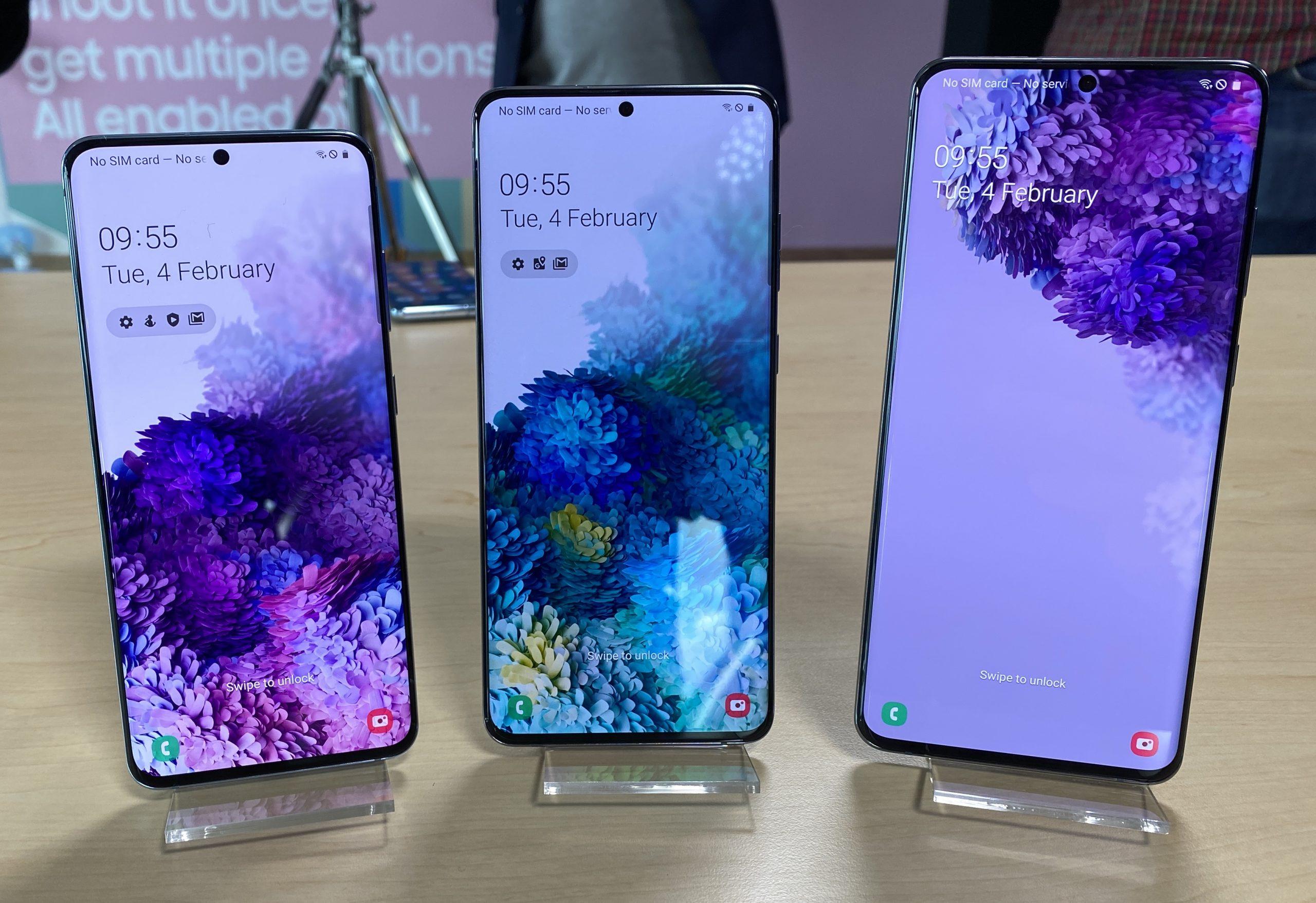 6,2, 6,7 ja 6,9 tuumaa ovat Galaxy S20:n, Galaxy S20+:n ja Galaxy S20 Ultran näyttöjen koot.