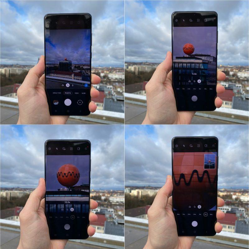 Esimerkki zoomista Galaxy S20 Ultralla. Kuvassa näkyvissä zoom-tasot 1x, 5x, 10x ja 30x.
