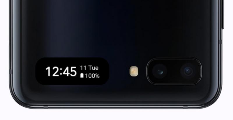 Galaxy Z Flipin kannessa on vain pikkunäyttö.