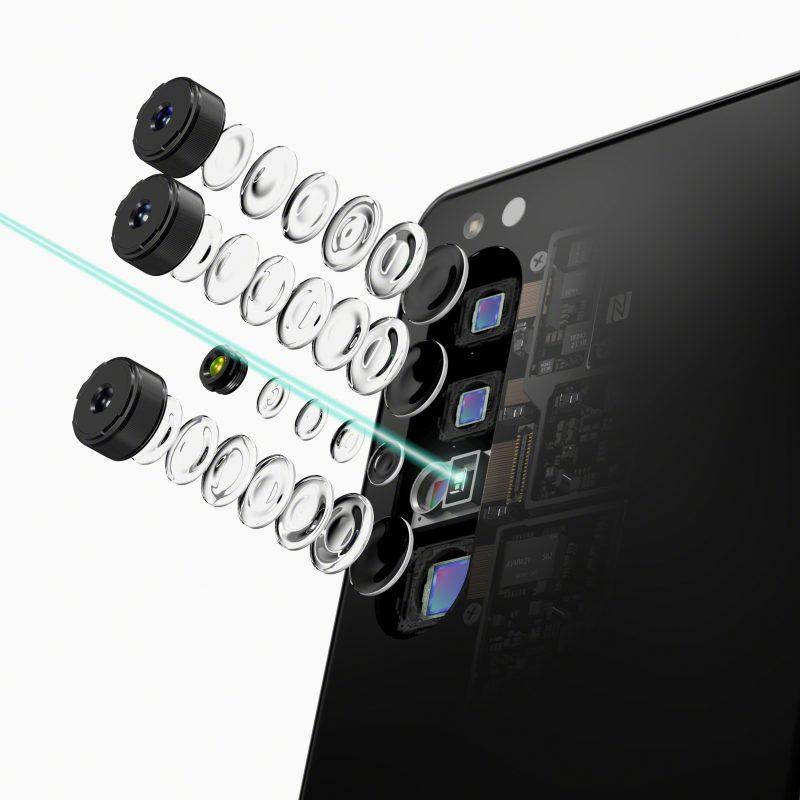 Xperia 1 II:ssä on kolme tavallista kameraa ja 3D ToF -laserkamera.