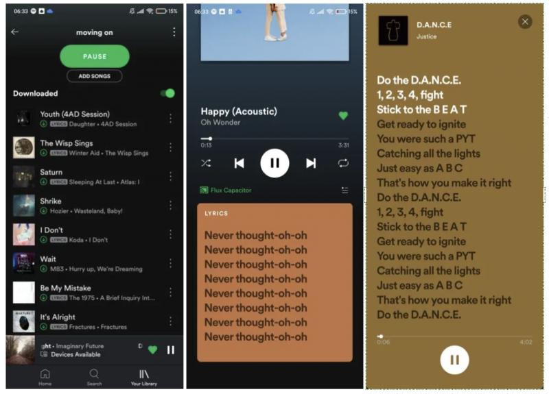 Spotify saa uutena toimintona etenevät lyriikat. Kuvat: Android Police.