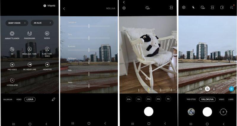 Kameran käyttöliittymä on tuttu muistakin Galaxy-malleista. Toinen kuva oikealta esittelee telekameran zoom-näkymän.