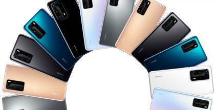 Huawei P40-sarjan malleja eri värivaihtoehtoina. Kuva: Evan Blass.