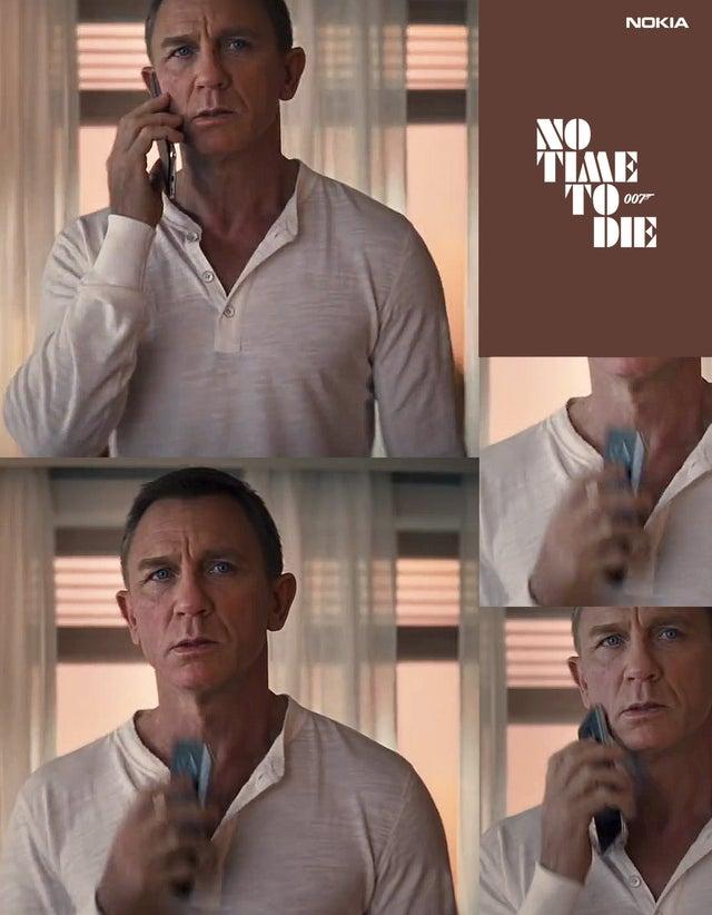 Mahdollinen Nokia 8.3 -älypuhelin James Bondia näyttelevän Daniel Craigin kädessä.