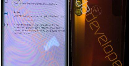 Motorola edge XDA Developers -sivuston julkaisemissa vuotokuvissa. Kuvat vahvistavat 90 hertsin näytön ja kolme takakameraa.