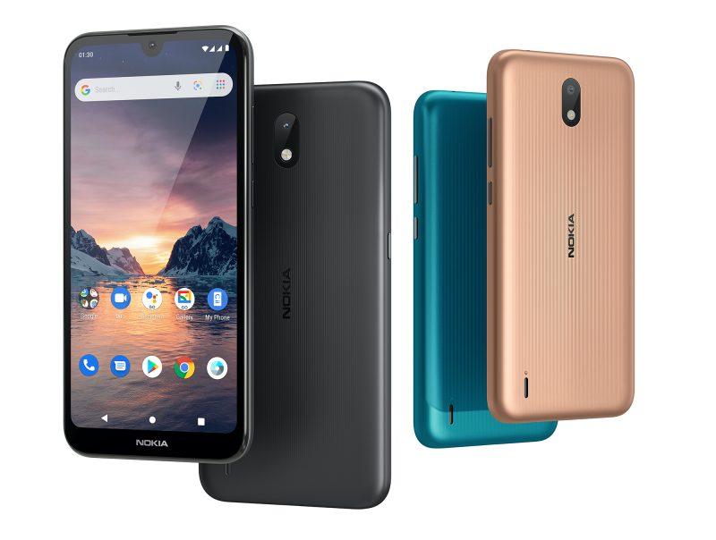 Nokia 1.3 eri väreissä.