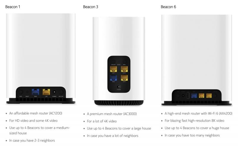 Nokian Wi-Fi-reitittimet Beacon 1, Beacon 3 ja Beacon 6.