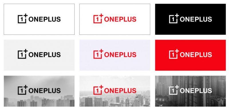 OnePlussan uusi logo eri ympäristöissä.