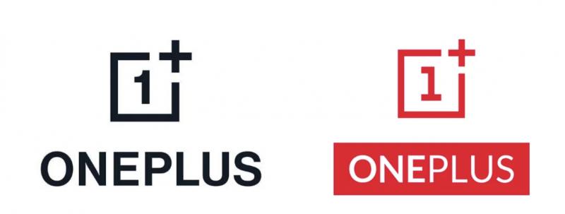 Uusi OnePlus-logo mustana vasemmalla, vanha oikealla.