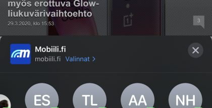 WhatsApp-yhteystietoja ja -ryhmäkeskusteluja näkyy nyt ehdotuksena iOS-käyttöjärjestelmän jakonäkymässä (kuvasta piilotettu nimet mustalla palkilla).