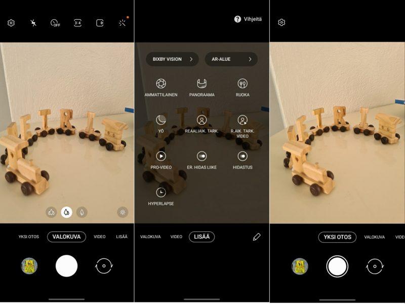 Kameran käyttöliittymä on tuttua Samsungia. Yksi otos -tila on näppärä lisä jo ennestään monipuoliseen kuvaustilavalikoimaan.