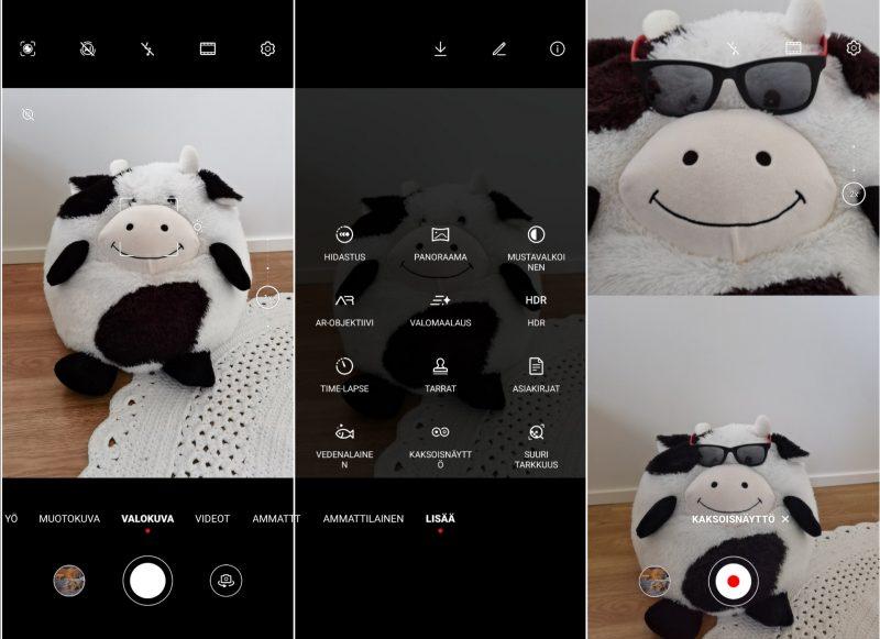 Huawei P40 Pron kameran käyttöliittymä on tuttu. Oikealla uusi Kaksoisnäyttö-kuvaustila.