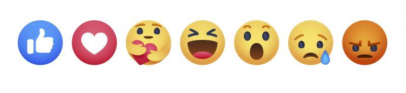 Facebookin seitsemän reaktiokuvaketta, sisältäen uuden välittämisestä kertovan reaktion.