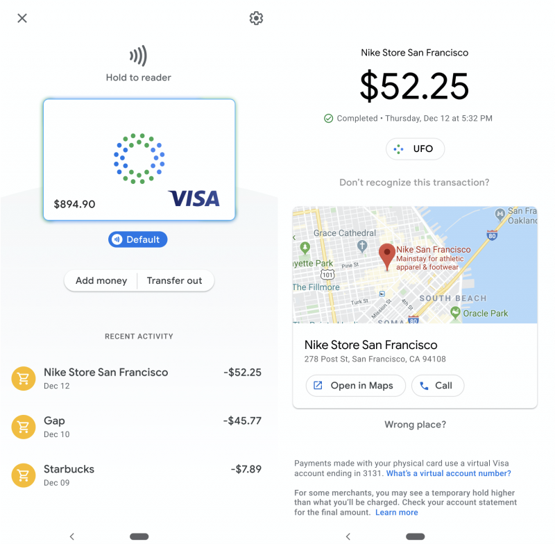 Google-kortin hallinta- ja maksutietonäkymät. Kuva: TechCrunch.