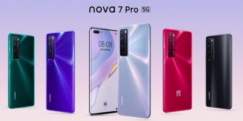 Huawei Nova 7 Pro 5G eri väreissä.
