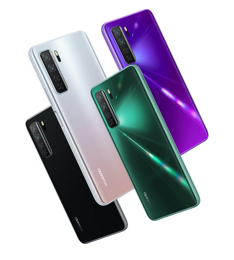 Nova 7 SE 5G:n eri värivaihtoehdot.