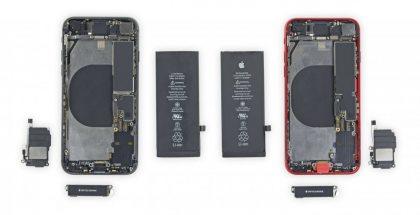 iPhone 8:n osat vasemmalla, iPhone SE:n oikealla.