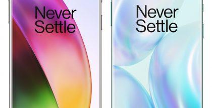 OnePlus 8 vasemmalla, OnePlus 8 Pro oikealla. Puhelimet eivät mittakaavassa, oikeasti OnePlus 8 Pro on hieman isompi.